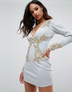 Платье с длинным рукавом, V-образным вырезом и отделкой A Star Is Born - Синий