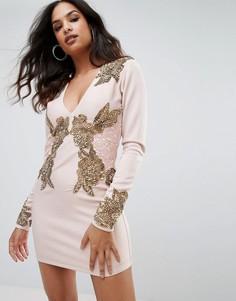 Платье с длинным рукавом, V-образным вырезом и отделкой A Star Is Born - Розовый