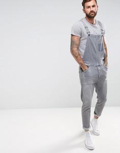 Серый джинсовый комбинезон с рваной отделкой ASOS - Серый