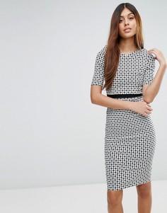 Платье-футляр в клетку с рукавами 3/4 Vesper - Мульти