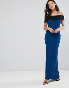 Платье макси с контрастным поясом Vesper - Синий