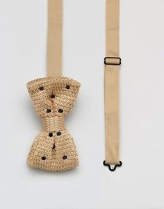 Трикотажный галстук-бабочка в горошек 7X - Рыжий