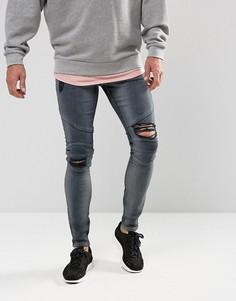 Черно-синие супероблегающие рваные джинсы в байкерском стиле ASOS - Серый