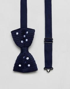 Вязаный темно-синий галстук-бабочка в горошек ASOS - Темно-синий