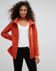 Шерстяное пальто с молнией Esprit - Красный