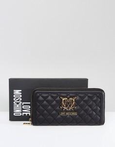 Стеганый кошелек с логотипом Love Moschino - Черный
