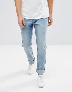 Синие укороченные джинсы слим заниженного кроя Weekday Line Unisex - Синий