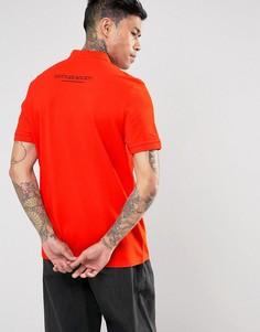 Оранжевое поло с вышитой надписью на спине ASOS - Оранжевый