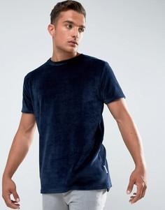 Темно-синяя велюровая футболка Bellfield - Темно-синий