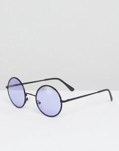 Черные круглые солнцезащитные очки с фиолетовыми стеклами ASOS - Черный