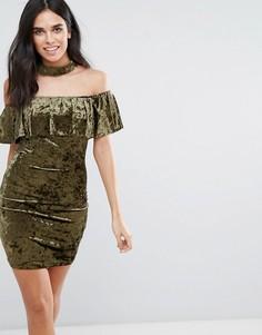 Бархатное платье с оборкой Love & Other Things - Зеленый