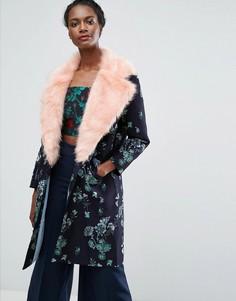 Жаккардовое пальто с контрастным искусственным мехом Endless Rose - Темно-синий