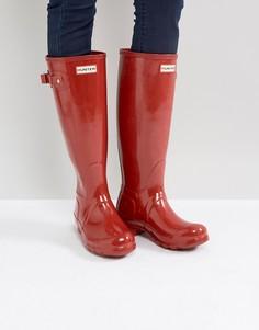 Высокие красные резиновые сапоги Hunter Original - Красный