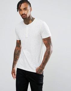 Фактурная обтягивающая футболка на пуговицах ASOS - Белый