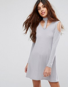 Свободное платье в рубчик Be Jealous - Серебряный