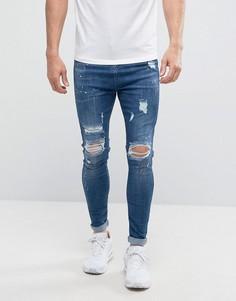 Темно-синие джинсы скинни с потертостями Good For Nothing - Синий