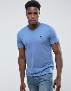 Синяя облегающая футболка с V-образным вырезом и логотипом Abercrombie & Fitch - Темно-синий