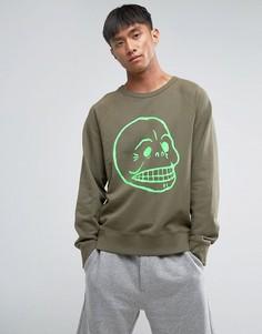 Свитер с принтом черепа Cheap Monday Rules - Зеленый