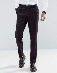 Узкие брюки в красную и синюю клетку Gianni Feraud - Синий