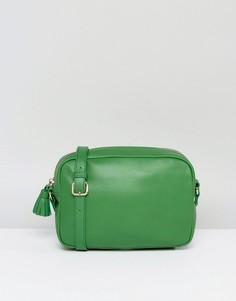 Кожаная сумка через плечо с кисточкой Made - Зеленый