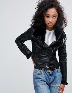 Байкерская куртка с воротником из искусственного меха Urban Bliss - Черный