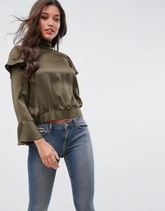 Блузка с оборками и разрезом на спине ASOS Luxe - Зеленый