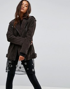 Замшевая байкерская куртка удлиненного кроя ASOS - Серый