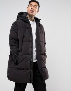 Черная дутая oversize-куртка с капюшоном ASOS - Черный