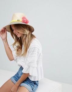 Плетеная соломенная шляпа с отделкой помпонами Jardin Del Cielo - Бежевый