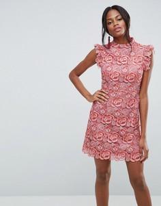 Кружевное платье мини с оборками на рукавах ASOS - Оранжевый