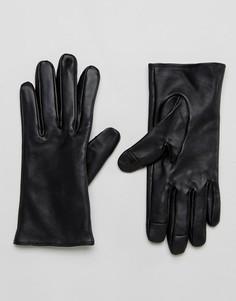 Однотонные кожаные перчатки ASOS - Черный