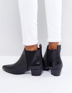 Кожаные ботинки на каблуке с острым носком DEPP - Черный