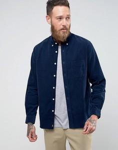 Вельветовая рубашка с одним карманом Edwin - Темно-синий
