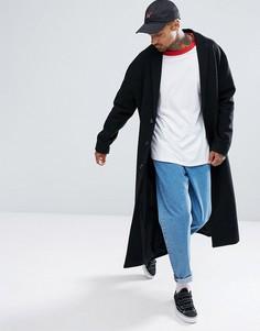 Черное пальто на подкладке с добавлением шерсти ASOS - Черный