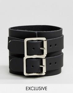 Черный кожаный браслет Reclaimed Vintage Inspired - Черный