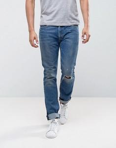 Синие выбеленные джинсы скинни с рваной отделкой на коленях Levis 501 - Синий Levis®