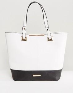 Черно-белая сумка-шоппер в стиле колор блок Dune - Белый