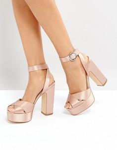 Атласные босоножки на блочном каблуке Office Harley - Розовый