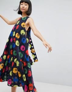 Платье А-силуэта в горошек ASOS WHITE - Синий