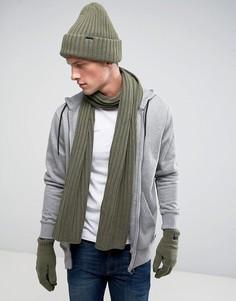 Подарочный набор с шапкой-бини, шарфом и перчатками G-Star - Серый