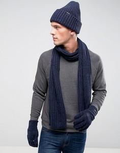 Подарочный набор с шапкой-бини, шарфом и перчатками G-Star - Черный
