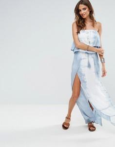 Пляжное платье макси с открытыми плечами и принтом тай-дай Surf Gypsy - Мульти
