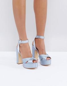 Атласные босоножки на блочном каблуке Office Harley - Синий