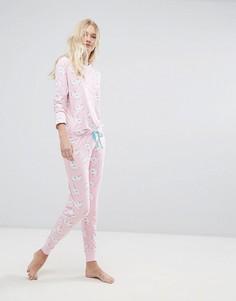 Пижама из топа и штанов с принтом единорогов Chelsea Peers - Розовый