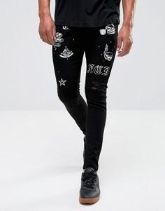 Супероблегающие джинсы с рваной отделкой и принтом Criminal Damage - Черный