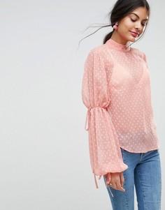 Блузка из ткани добби с пышными рукавами ASOS - Розовый