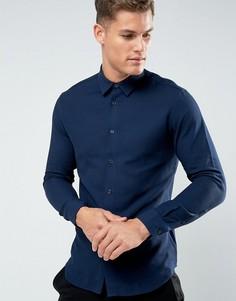 Узкая фактурная рубашка Selected Homme - Темно-синий