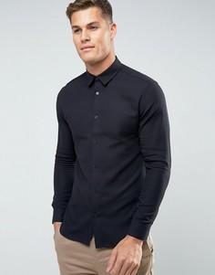 Узкая фактурная рубашка Selected Homme - Черный