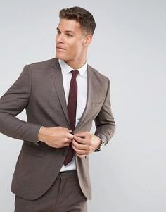 Фактурный узкий пиджак Selected Homme - Коричневый