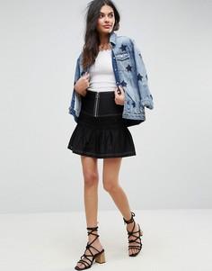 Мини-юбка со сборками и молнией ASOS - Черный